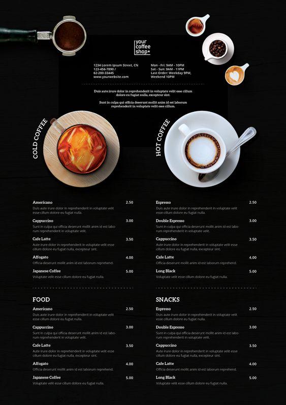 รูป coffee 05 - ประกอบเนื้อหา 10 ตัวอย่างเมนูเครื่องดื่ม แผ่นเดียว ดีไซน์สวย เหมาะสำหรับร้านกาแฟ คาเฟ่