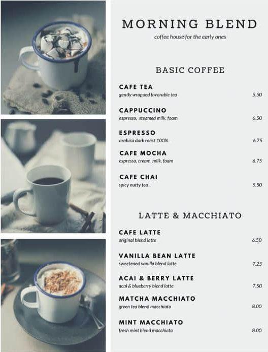 รูป coffee 07 e1594287552817 - ประกอบเนื้อหา 10 ตัวอย่างเมนูเครื่องดื่ม แผ่นเดียว ดีไซน์สวย เหมาะสำหรับร้านกาแฟ คาเฟ่