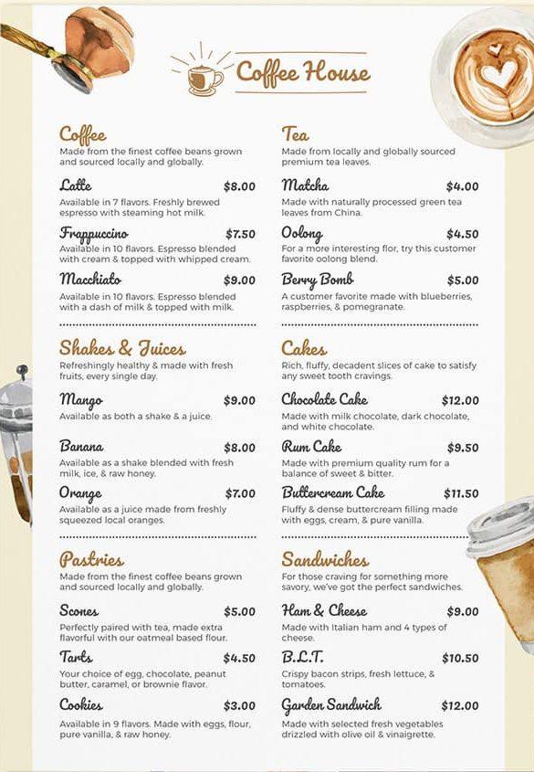 รูป coffee 15 e1594289027227 - ประกอบเนื้อหา 10 ตัวอย่างเมนูเครื่องดื่ม แผ่นเดียว ดีไซน์สวย เหมาะสำหรับร้านกาแฟ คาเฟ่