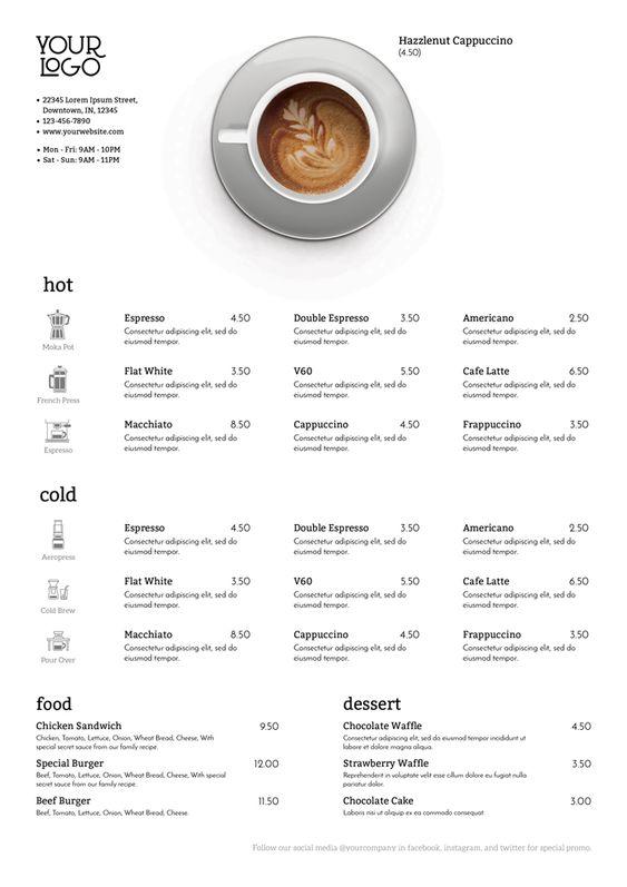 รูป coffee menu 02 - ประกอบเนื้อหา พาชม 10 ตัวอย่างงานออกแบบ และดีไซน์ เมนูร้านกาแฟ