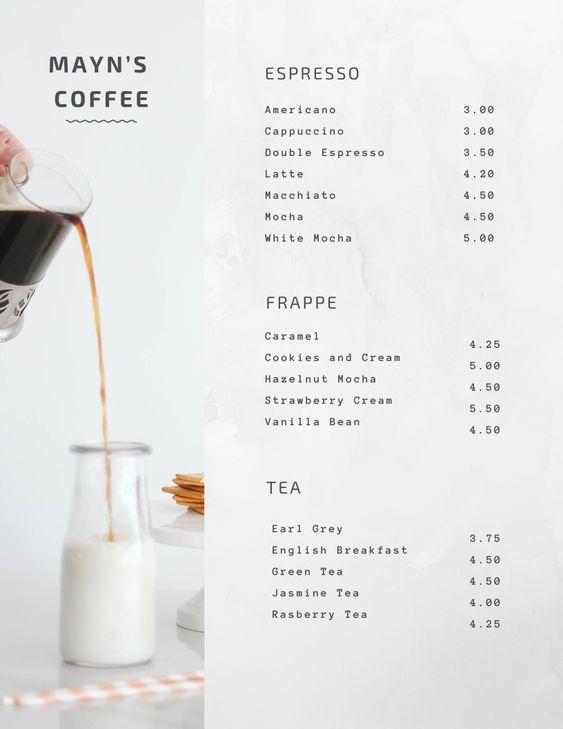 รูป coffee menu 18 - ประกอบเนื้อหา พาชม 10 ตัวอย่างงานออกแบบ และดีไซน์ เมนูร้านกาแฟ